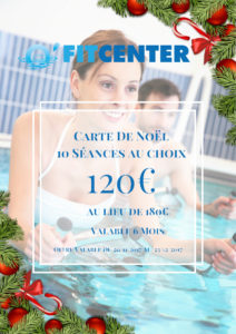 Carte de Noel O Fit Center - 60€ sur séance aquafitness