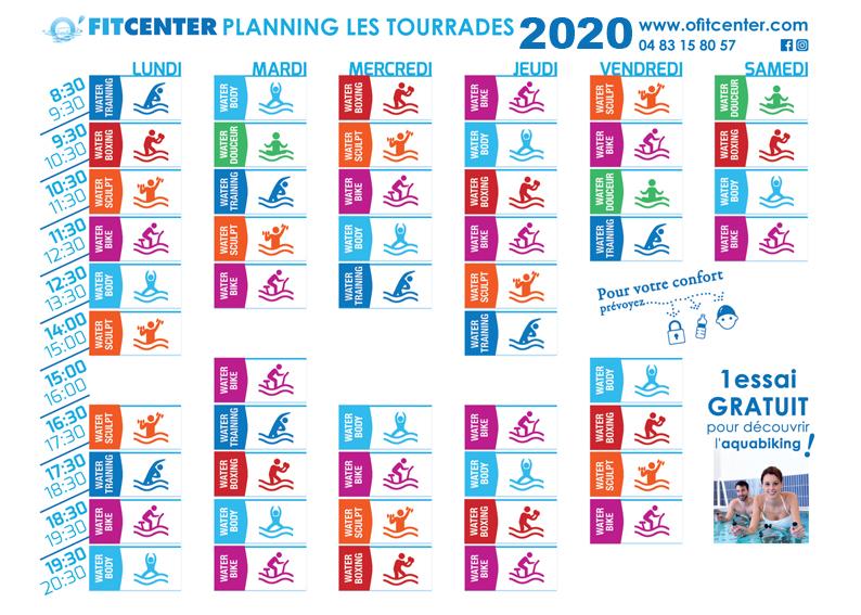 Planning d'activités O'FITCENTER Cannes Mandelieu